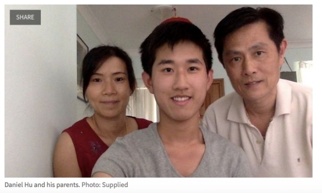 Daniel Hu and his parents